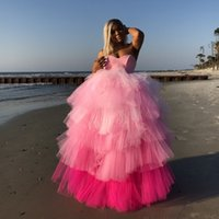 Pink Fuchsia Mix Color Puffy Tulle Party Dresses For Black Girls Lush Tiered Ruffles Long Plus Size Prom Dress Women Homecoming Gowns