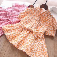 Kids Clothing Sets Girls Outfits Baby Clothes Children Summer Cotton Leopard Shirts Tops Skirts Bowknot Headbands 3Pcs 2-7Y B5027