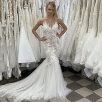 Jewel Neck Lace Mermaid Wedding Dresses with Appliques Sweep Trian Tulle Plus Size Bridal Gowns