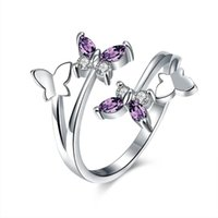 Cluster Rings Adjustable Butterfly Crystal Ring Women Girls Trendy Wedding Bands Fashion Party Finger