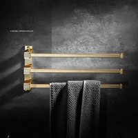 Tuqiu fodable barras de toalha com ganchos de latão rack giratória giratória titular acessórios para banheiro 3/5 swiveet escovado ouro racks