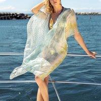 Women's Swimwear 2021 Chiffon Beach Wear Women Swimsuit Cover Up Bathing Suits Summer Mini Dress Loose Solid Pareo Ups Droship