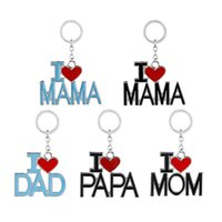 Metal Family Pendant Keychain I Love MAMA MOM DAD PAPA Letter Chains Souvenir Jewelry Key Ring Mother Father 's Day GWB6790