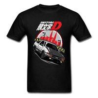 Homens Camiseta Inicial D AE86 Mens de Desenhista Camisetas Tops Tops de Algodão T-shirt personalizado t - shirts Japão carro corredor amante manga roupas 210707