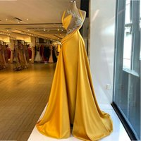 Gold Beaded Mermaid Evening Dresses Crystal Sheer Neck Prom Dress With Detachable Train Formal Party Gowns Custom Made Robe de mariée