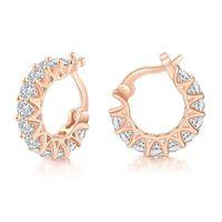 Hoop & Huggie Hip Hop Iced Out Zircon Earrings For Women Men Minimalist Ear Cuffs Clips On Ears Jewelry Wholesale Dropship KBE169