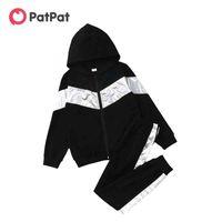 PatPat Arrival Spring and Autumn Trendy Kid Boy Coat Sweatpants Patchwork Set 2pcs Pants suit Sports Suits 210521
