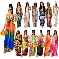 Plus size 2XL Women Spaghetti strap dresses floor length maxi shirts leopard striped print sexy v neck backless cottom dress 4891