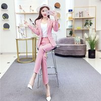 Women's Two Piece Pants 2021 Spring Autumn Women Office 2 Set Female Long Sleeve Striped Blazer And Pencil Trousers Lady Loose OL Suits N196