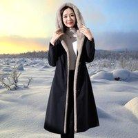 Faída femenina 4xl Mink abrigos Mujeres 2021 Invierno Top Invierno Larga Parka Una chaqueta de moda Desgaste de dos caras Con Capucha Cálida Outerwear