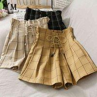 Yuoomuoo ins мода высокая талия бандаж шорты женщины 2020 летняя винтажная клетчатая клетчатая нога короткие брюки свободная девушка шорты Feminino Y0524