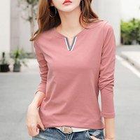 Boyun 100% Pamuk T Gömlek Kadın Bahar Moda Uzun Kollu kadın T-shirt Gevşek Kore Stil Artı Boyutu Kadın Gömlek