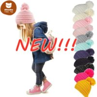 NEW!!! Beanie Kids Knitted Hats Kids Chunky Skull Caps Winter Cable Knit Slouchy Crochet Hats Outdoor Warm Beanie Cap 11 Colors 50pcs wa
