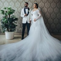African Mermaid Wedding Dresses Plus Size Court Train Bridal Gowns Sheer O Neck Long Sleeves Appliques Lace Tulle Lady Marriagr