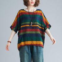 Women's T-Shirt Plus Size Women 90KG Loose Stripe T Shirt Basic TShirts Bat Sleeve Ins Female Y2k Aesthetic Clothes
