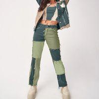 Patchwork de otoño Cintura Alta Cintura recta Denim Pantalones Mujeres Casual Flyny Ripped Jeans Capris bolsillo Pantalones largos Ladies Streetwear Mujeres