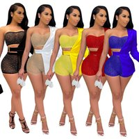 Fashion Women 3 piece pants suits Sexy Slim Hot Rhinestone wrapped chest top mini short one sleeve suit coat outfits set lady streetwear nightclub plus size clothing
