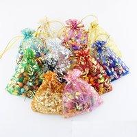 Ouro amor coração rosa organza saco presente de casamento sacos de Natal embalagem