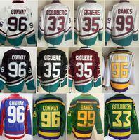 Retro Hockey 33 Greg Goldberg Jersey Die mächtige Anaheim-Enten Filmgrün 1993 Vintage 35 Jean-Sebastien Giguere 96 Charlie Conway 99 Adam Banken