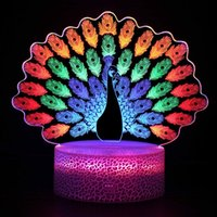 Night Lights 3D Vision RGB LED Color Changing Touch Switch Creative Gift Table Desk Lamp Home Bedroom Decoration