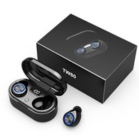 TW80 TWS Wireless Earphone Bluetooth 5.0 headphones Bass HiFi Steroe Handsfree Mini Earbuds With Mic LED Display Charging