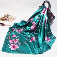 Foulard à col satiné de la mode Kerchief pour femmes imprimer des écharpes hijab femelles 90 * 90cm carré châles carrés et enveloppements écharpes dame