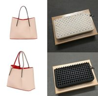 Bag Handbag + Pequeñas carteras 2PIC mujeres hombres Remache Bolso de hombro Moda Bolso Top Totes de cuero genuino Redbottoms Bolsas