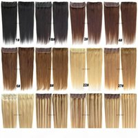 Free DHL Indian Remy Clip in Human Hair Extensions straight 105g with Lace for full head blond black brown color