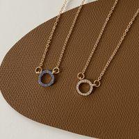 Micro-inlaid diamond geometric circle simple necklace female ins cold wind niche design sense item decoration temperament clavicle chain