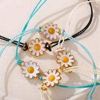 Charm Bracelets Sparkling Cubic Flower Evil Eye Lash Bracelet Women Girl Elegant Cute Round Brass Yellow String Lovely Jewelry