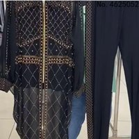 Ethnic Clothing Plus Size Women African Clothes 2 Piece Set Dashiki Fashion Diamond Suits Top Trousers Pants Africa Party Dresses Outfits