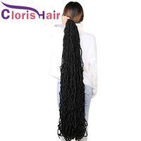 36inch Messy Boho Nu Soft Locs Кудрявые вязаные крючком наплетение синтетические наращивания волос натуральные богини FAUX LOC AFRO BRAOD COLES для чернокожих женщин