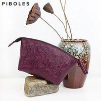 Vintage äkta läder kosmetiska påsar handgjorda make up väska unik design tvätt toaletter påse resor bärbara arrangör fallet tote fall