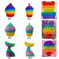 Rainbow Bear Ice Cream Rabbit Pulse It Fidget Push Bubble Toys Favor Stress Reliever Sensory Silicone Toys Kids Adultos 2021 Nuevo DHL Envío