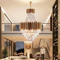 Pendant Lamp Duplex Building Luxury Crystal Chandelier Indoor Lighting Adjustable Height Modern Living Room Hotel lobby Staircase Villa Durable led Light