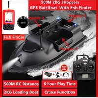 GPS 500M Remote Control RC Fishing Bait Boat Auto Cruise Control 2KG Loading 3 Hoppers GPS RC Nesting Boat With Fish Finder Toys X0523