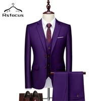 Rsfocus 2021 Purple Wedding Suits For Groom Mens Fashion Prom Ball Dinner Party Suit Male Luxury Formal Business TZ094 Men's & Blazers