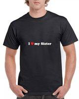 Ben kız kardeşim kırmızı kalp kardeşi t-shirt sis kardeşim hediye hediye siyah tee gömlek seviyorum
