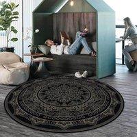 Tappeti black tondo tappeto per soggiorno mandala tappeto tappeto classico stampato floreale camera da letto mat da letto mat in poliestere dropship