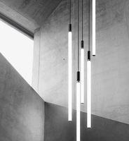 Minimalist LED Tube Pendant Lamp Aluminum Acrylic Suspension Light Lounge Dinning Table Bedside Creative Hanging Lighting