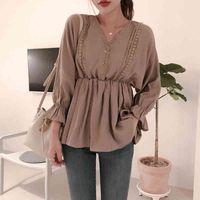 Şinler Zamanlar Dantel Düğmesi V Yaka Kadın Bluz Boy Bluzlar Kadın Sonbahar Rahat Uzun Kollu Bayanlar Femme Blusas Mujer 201202 Tops