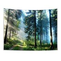 사이키델릭 안개가 자욱한 숲 태피스트리 기숙사 거실 침실 벽 교수형 아트 장식 3D 인쇄 녹색 정글 나무 자연 풍경 태피스트리