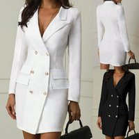 Casual Dresses Solid Color Mini Dress Double Breasted Button Formal Sets Professional Style Slim Summer Clothes For Women