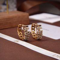 Boucles d'oreilles à charme de mode J Lettre avec des pierres pour femmes Party Wedding Wedding Wedding Bijoux Bride