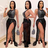 Dresses C3710 fashion nightclub hot drill bead mesh sexy tassel two piece set for women