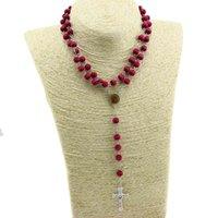 Religiösa kristna smycken klistermärken Helig far och mor till Gud kors mahogny pärlor Rosary halsband