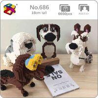 BS Beagle Hound Schnauzer Dachshund Sheepdog Dog Pet Animale 3D Modello FAI DA TE Mini Blocchi Diamante Blocchi Building Building Toy Bambini senza scatola 1008