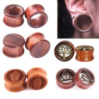 1Pair Wood Ear Plug And Tunnel Earring Ear Guages Plug Stretcher Expander Dermal Piercing Oreja Mujer Stretcher Men Body Jewelry