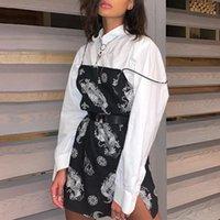 Casual Dresses 2021 Dragon Print Sleeveless Slit Sexy Slip Mini Dress Autumn Women Streetwear Club Outfits Clothing Clothes Drop