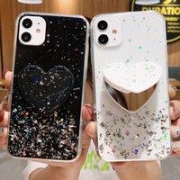 Casos de telefone do espelho do glitter luxuoso com suporte para o iPhone XS XR 12 pro max